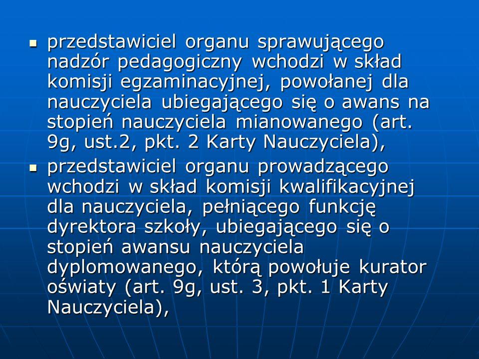 przedstawiciel organu sprawującego nadzór pedagogiczny wchodzi w skład komisji egzaminacyjnej, powołanej dla nauczyciela ubiegającego się o awans na stopień nauczyciela mianowanego (art.