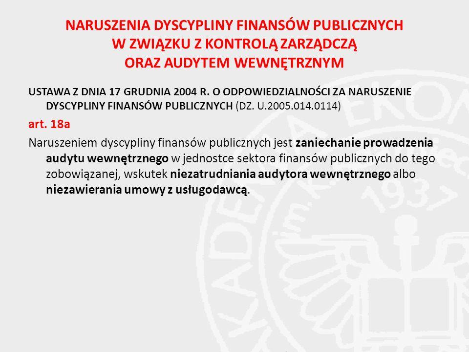 NARUSZENIA DYSCYPLINY FINANSÓW PUBLICZNYCH W ZWIĄZKU Z KONTROLĄ ZARZĄDCZĄ ORAZ AUDYTEM WEWNĘTRZNYM USTAWA Z DNIA 17 GRUDNIA 2004 R.