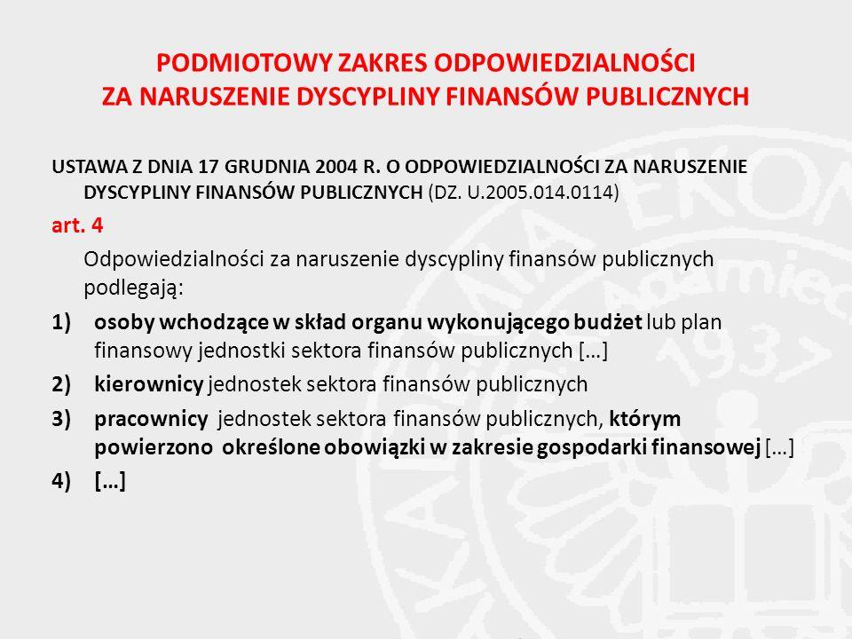 PODMIOTOWY ZAKRES ODPOWIEDZIALNOŚCI ZA NARUSZENIE DYSCYPLINY FINANSÓW PUBLICZNYCH USTAWA Z DNIA 17 GRUDNIA 2004 R. O ODPOWIEDZIALNOŚCI ZA NARUSZENIE D