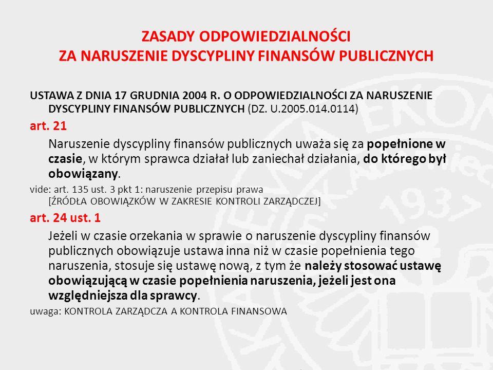 ZASADY ODPOWIEDZIALNOŚCI ZA NARUSZENIE DYSCYPLINY FINANSÓW PUBLICZNYCH USTAWA Z DNIA 17 GRUDNIA 2004 R. O ODPOWIEDZIALNOŚCI ZA NARUSZENIE DYSCYPLINY F