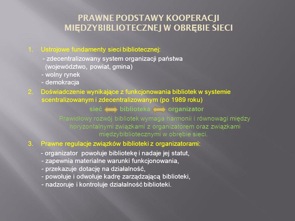 1. Ustrojowe fundamenty sieci bibliotecznej: - zdecentralizowany system organizacji państwa (województwo, powiat, gmina) - wolny rynek - demokracja 2.