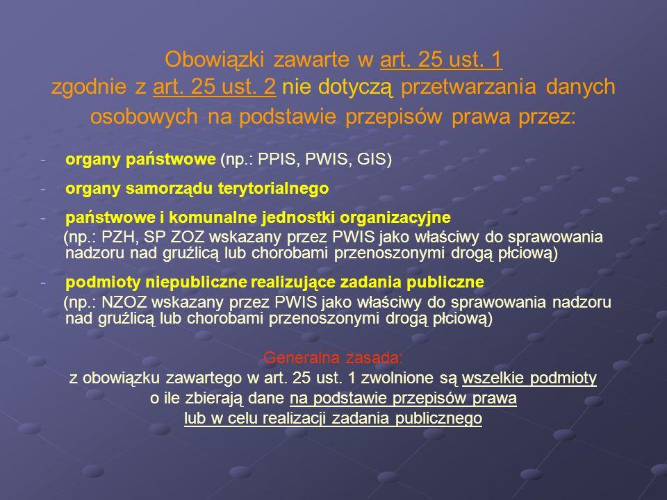 Obowiązki zawarte w art. 25 ust. 1 zgodnie z art. 25 ust. 2 nie dotyczą przetwarzania danych osobowych na podstawie przepisów prawa przez: - -organy p
