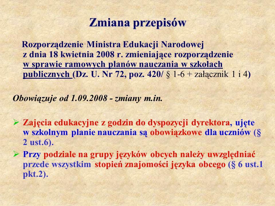 Zmiana przepisów Rozporządzenie Ministra Edukacji Narodowej z dnia 18 kwietnia 2008 r. zmieniające rozporządzenie w sprawie ramowych planów nauczania
