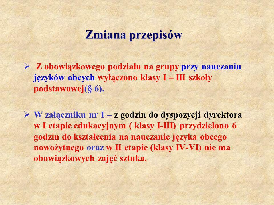 Zmiana przepisów Z obowiązkowego podziału na grupy przy nauczaniu języków obcych wyłączono klasy I – III szkoły podstawowej(§ 6). W załączniku nr 1 –
