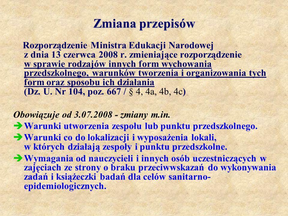 Zmiana przepisów Rozporządzenie Ministra Edukacji Narodowej z dnia 13 czerwca 2008 r. zmieniające rozporządzenie w sprawie rodzajów innych form wychow
