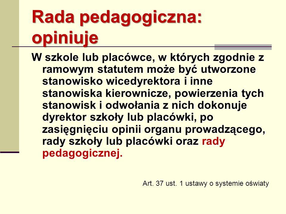 Rada pedagogiczna: opiniuje W szkole lub placówce, w których zgodnie z ramowym statutem może być utworzone stanowisko wicedyrektora i inne stanowiska