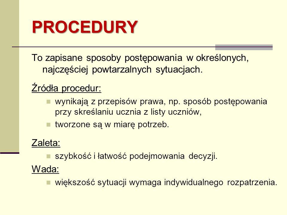 PROCEDURY To zapisane sposoby postępowania w określonych, najczęściej powtarzalnych sytuacjach. Źródła procedur: wynikają z przepisów prawa, np. sposó