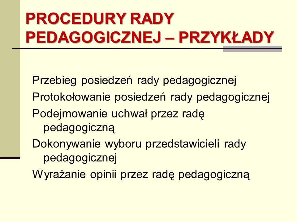 PROCEDURY RADY PEDAGOGICZNEJ – PRZYKŁADY Przebieg posiedzeń rady pedagogicznej Protokołowanie posiedzeń rady pedagogicznej Podejmowanie uchwał przez r