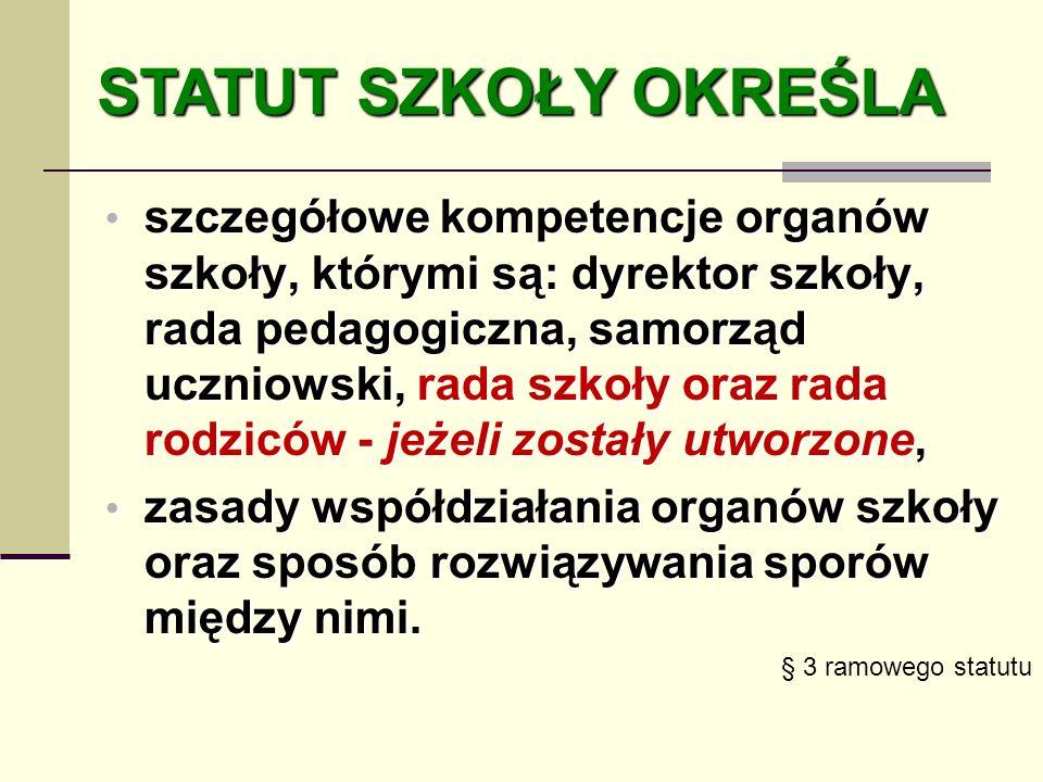 szczegółowe kompetencje organów szkoły, którymi są: dyrektor szkoły, rada pedagogiczna, samorząd uczniowski, rada szkoły oraz rada rodziców - jeżeli z