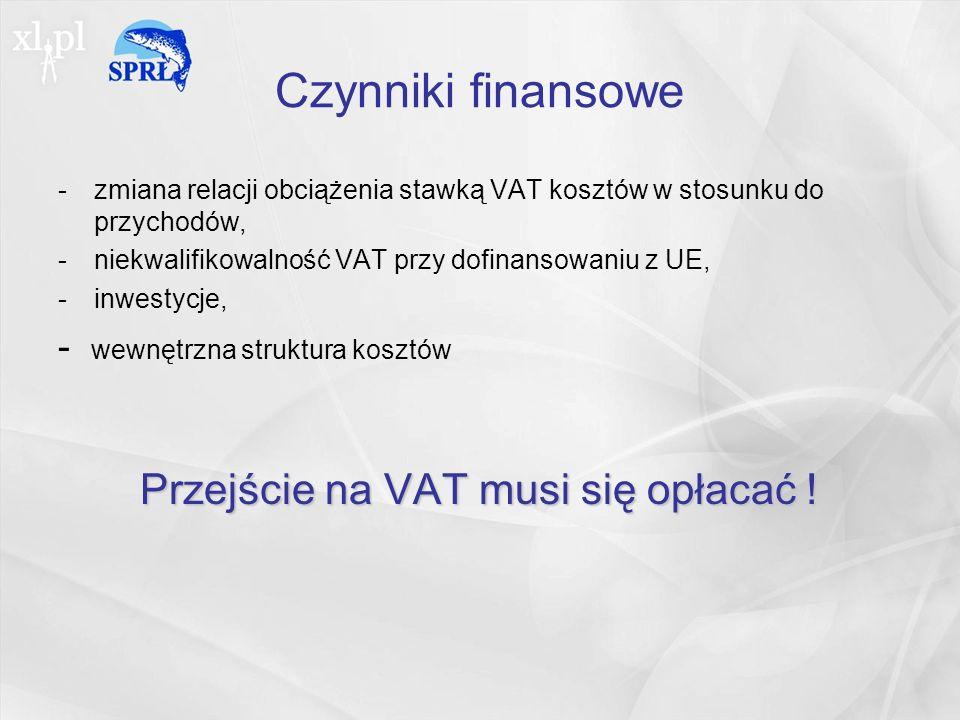 Czynniki finansowe -zmiana relacji obciążenia stawką VAT kosztów w stosunku do przychodów, -niekwalifikowalność VAT przy dofinansowaniu z UE, -inwestycje, - wewnętrzna struktura kosztów Przejście na VAT musi się opłacać !