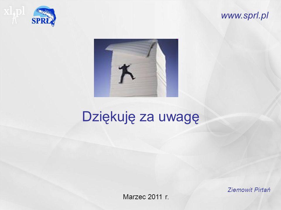 Dziękuję za uwagę Marzec 2011 r. Ziemowit Pirtań www.sprl.pl