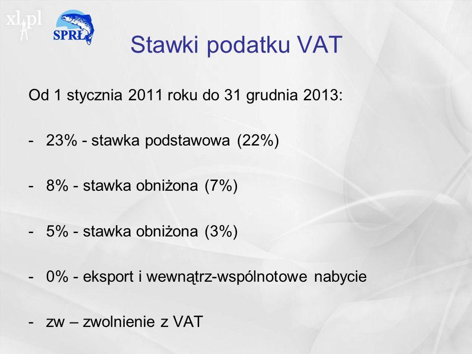 Stawki podatku VAT Od 1 stycznia 2011 roku do 31 grudnia 2013: -23% - stawka podstawowa (22%) -8% - stawka obniżona (7%) -5% - stawka obniżona (3%) -0% - eksport i wewnątrz-wspólnotowe nabycie -zw – zwolnienie z VAT
