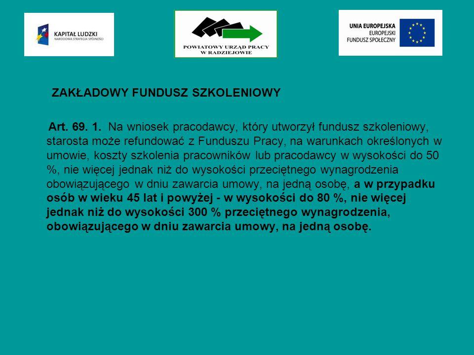 ZAKŁADOWY FUNDUSZ SZKOLENIOWY Art. 69. 1.