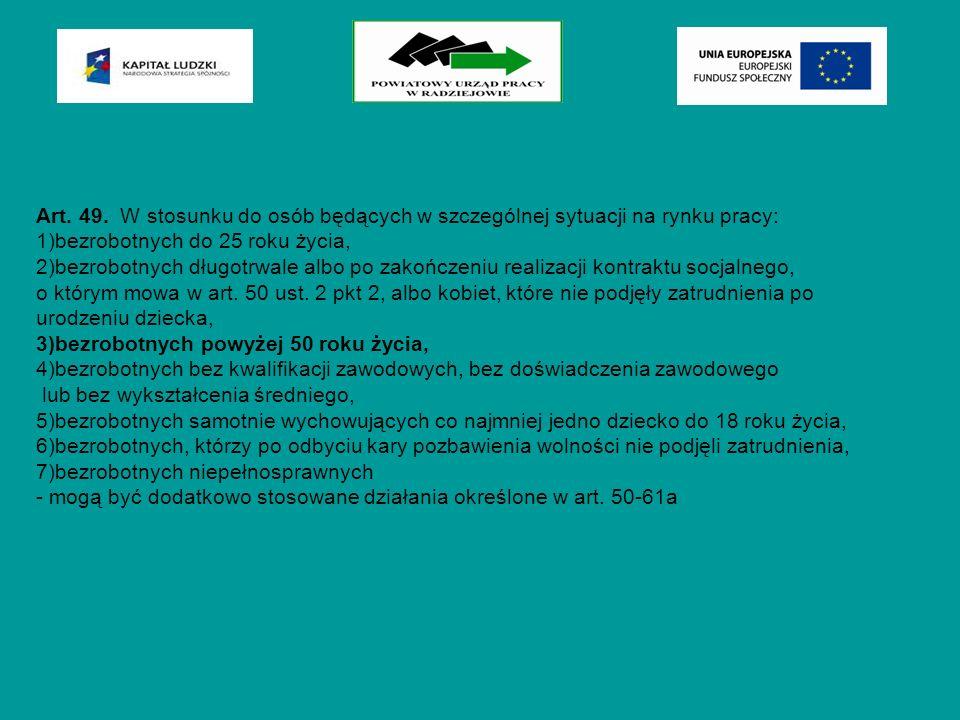 Art. 49. W stosunku do osób będących w szczególnej sytuacji na rynku pracy: 1)bezrobotnych do 25 roku życia, 2)bezrobotnych długotrwale albo po zakońc