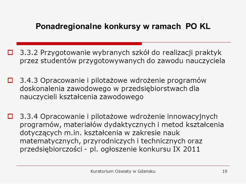Ponadregionalne konkursy w ramach PO KL 3.3.2 Przygotowanie wybranych szkół do realizacji praktyk przez studentów przygotowywanych do zawodu nauczyciela 3.4.3 Opracowanie i pilotażowe wdrożenie programów doskonalenia zawodowego w przedsiębiorstwach dla nauczycieli kształcenia zawodowego 3.3.4 Opracowanie i pilotażowe wdrożenie innowacyjnych programów, materiałów dydaktycznych i metod kształcenia dotyczących m.in.