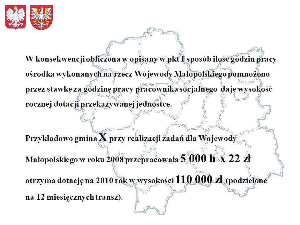 W konsekwencji obliczona w opisany w pkt I sposób ilość godzin pracy ośrodka wykonanych na rzecz Wojewody Małopolskiego pomnożono przez stawkę za godzinę pracy pracownika socjalnego daje wysokość rocznej dotacji przekazywanej jednostce.