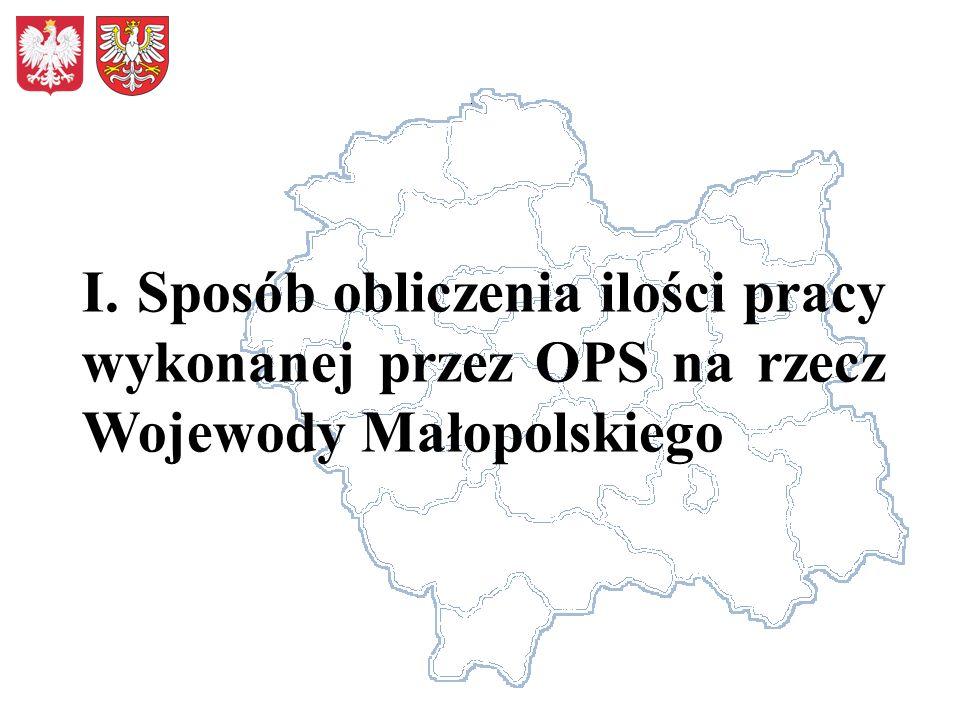 I. Sposób obliczenia ilości pracy wykonanej przez OPS na rzecz Wojewody Małopolskiego