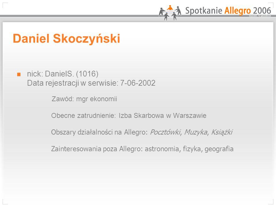 Daniel Skoczyński nick: DanielS. (1016) Data rejestracji w serwisie: 7-06-2002 Zawód: mgr ekonomii Obecne zatrudnienie: Izba Skarbowa w Warszawie Obsz