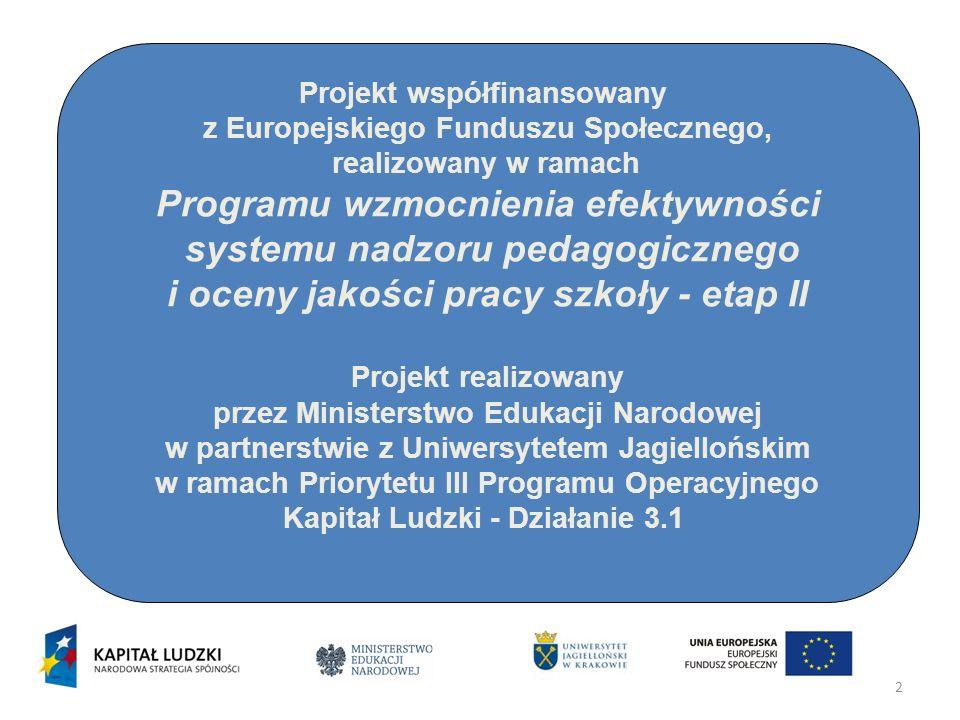 2 Projekt współfinansowany z Europejskiego Funduszu Społecznego, realizowany w ramach Programu wzmocnienia efektywności systemu nadzoru pedagogicznego