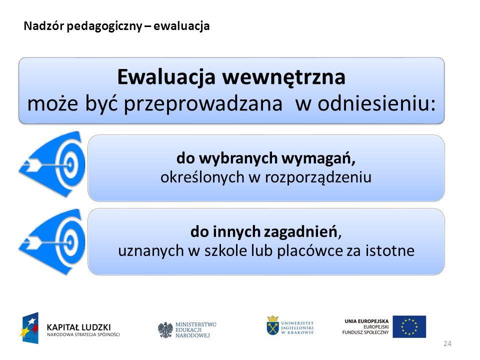 24 Nadzór pedagogiczny – ewaluacja Ewaluacja wewnętrzna może być przeprowadzana w odniesieniu: do wybranych wymagań, określonych w rozporządzeniu do i