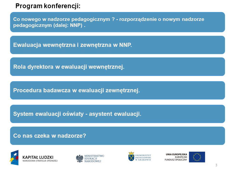 3 Program konferencji: Co nowego w nadzorze pedagogicznym ? - rozporządzenie o nowym nadzorze pedagogicznym (dalej: NNP). Rola dyrektora w ewaluacji w
