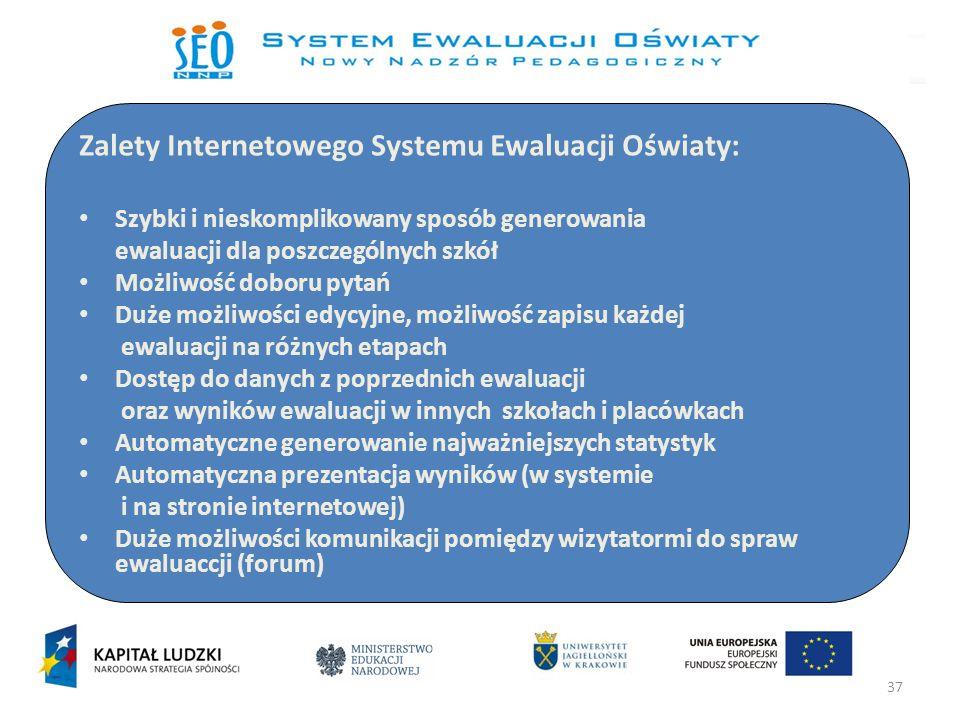 37 Zalety Internetowego Systemu Ewaluacji Oświaty: Szybki i nieskomplikowany sposób generowania ewaluacji dla poszczególnych szkół Możliwość doboru py
