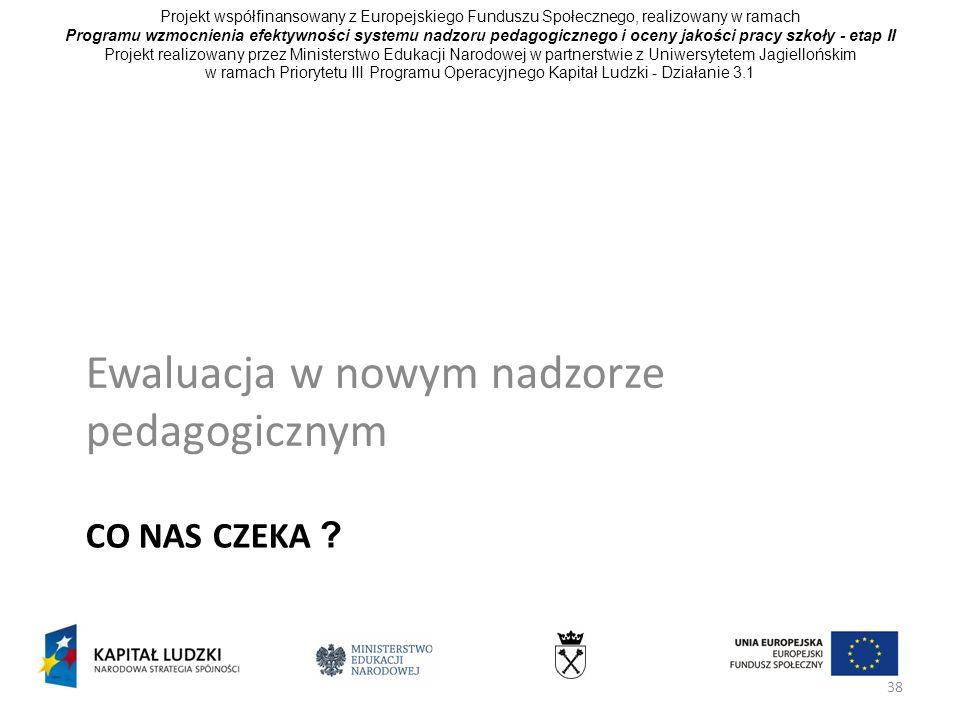 38 CO NAS CZEKA ? Ewaluacja w nowym nadzorze pedagogicznym Projekt współfinansowany z Europejskiego Funduszu Społecznego, realizowany w ramach Program