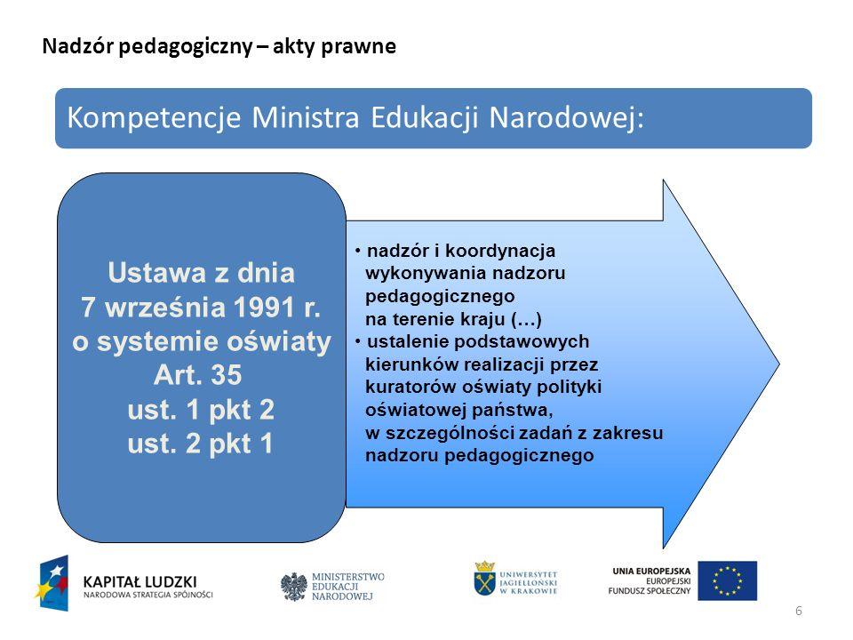 6 Nadzór pedagogiczny – akty prawne Kompetencje Ministra Edukacji Narodowej: Ustawa z dnia 7 września 1991 r. o systemie oświaty Art. 35 ust. 1 pkt 2