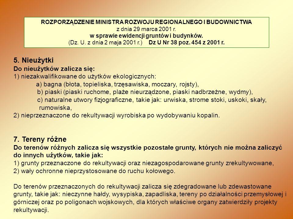ROZPORZĄDZENIE MINISTRA ROZWOJU REGIONALNEGO I BUDOWNICTWA z dnia 29 marca 2001 r. w sprawie ewidencji gruntów i budynków. (Dz. U. z dnia 2 maja 2001