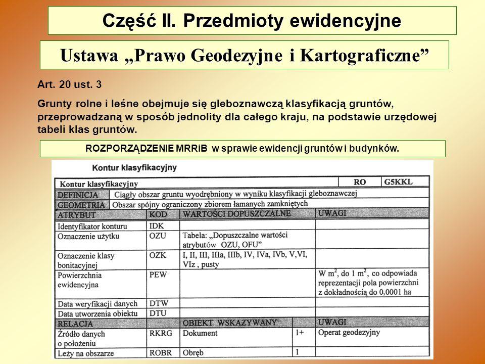 Część II. Przedmioty ewidencyjne Art. 20 ust. 3 Grunty rolne i leśne obejmuje się gleboznawczą klasyfikacją gruntów, przeprowadzaną w sposób jednolity