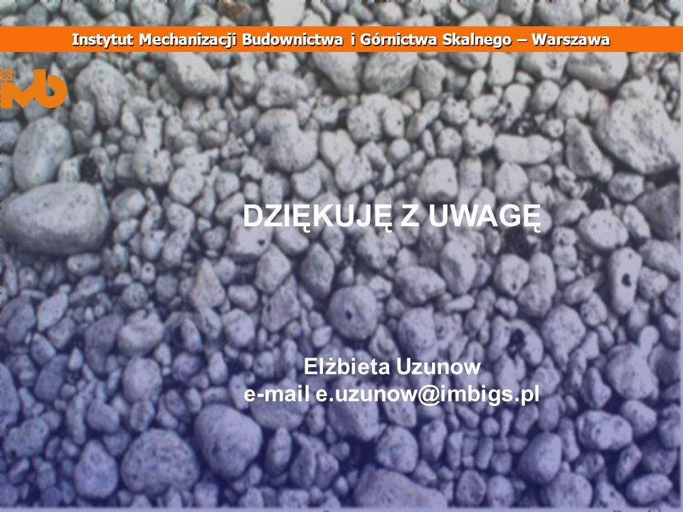 DZIĘKUJĘ Z UWAGĘ Elżbieta Uzunow e-mail e.uzunow@imbigs.pl Instytut Mechanizacji Budownictwa i Górnictwa Skalnego – Warszawa