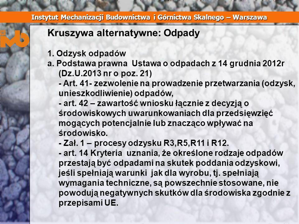 Kruszywa alternatywne: Odpady 1. Odzysk odpadów a. Podstawa prawna Ustawa o odpadach z 14 grudnia 2012r (Dz.U.2013 nr o poz. 21) - Art. 41- zezwolenie
