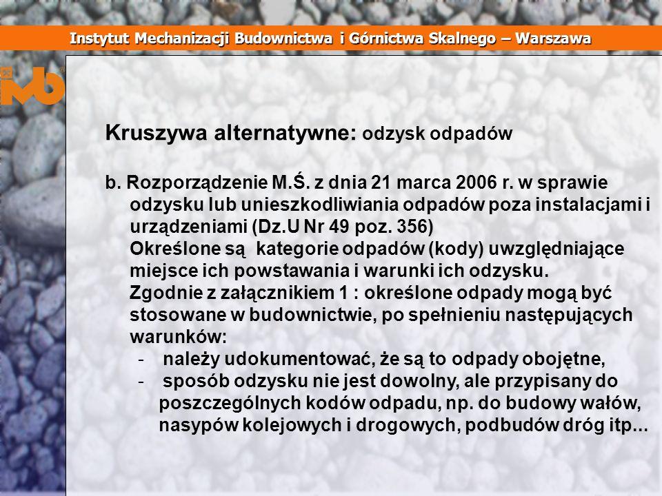 Kruszywa alternatywne: odzysk odpadów b. Rozporządzenie M.Ś. z dnia 21 marca 2006 r. w sprawie odzysku lub unieszkodliwiania odpadów poza instalacjami
