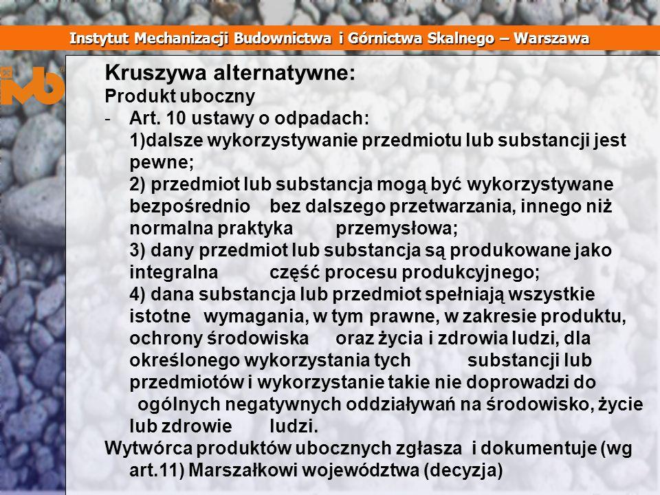 Kruszywa alternatywne: Produkt uboczny -Art. 10 ustawy o odpadach: 1)dalsze wykorzystywanie przedmiotu lub substancji jest pewne; 2) przedmiot lub sub