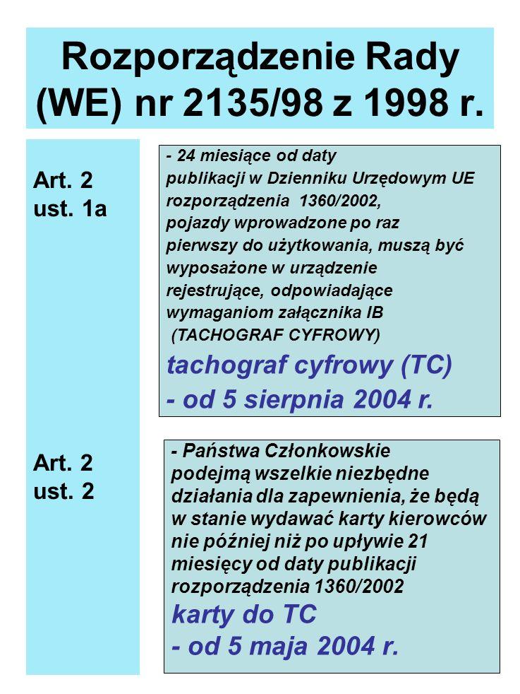Rozporządzenie Rady (WE) nr 2135/98 z 1998 r. Art. 2 ust. 1a Art. 2 ust. 2 - 24 miesiące od daty publikacji w Dzienniku Urzędowym UE rozporządzenia 13