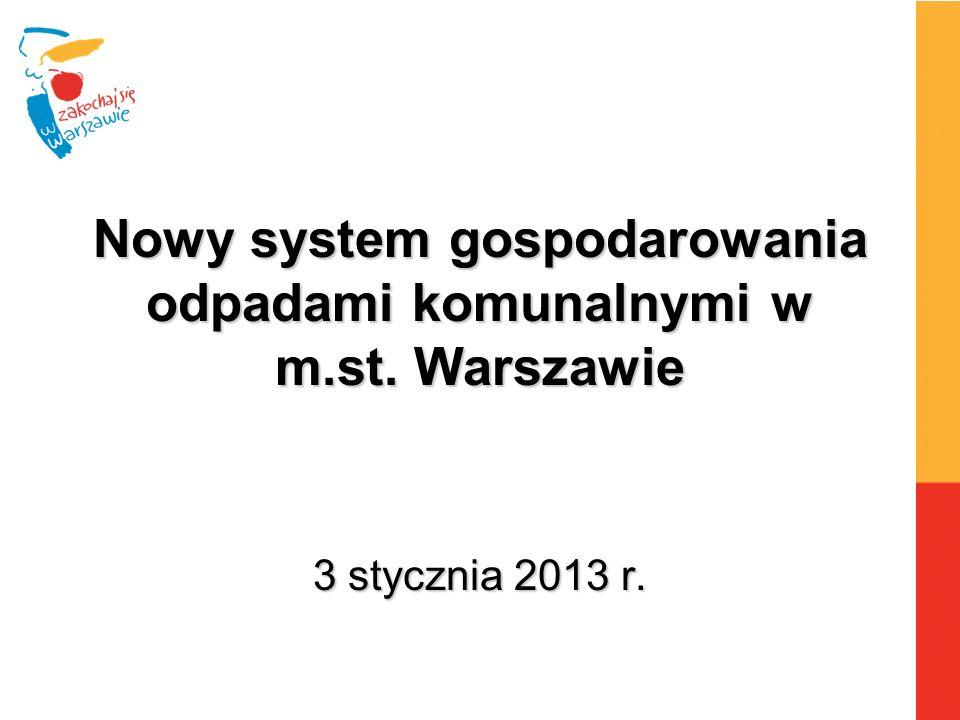 Nowy system gospodarowania odpadami komunalnymi w m.st. Warszawie 3 stycznia 2013 r.