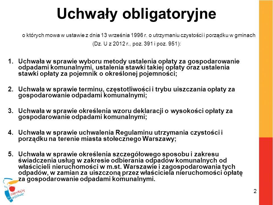 2 Uchwały obligatoryjne o których mowa w ustawie z dnia 13 września 1996 r. o utrzymaniu czystości i porządku w gminach (Dz. U z 2012 r., poz. 391 i p