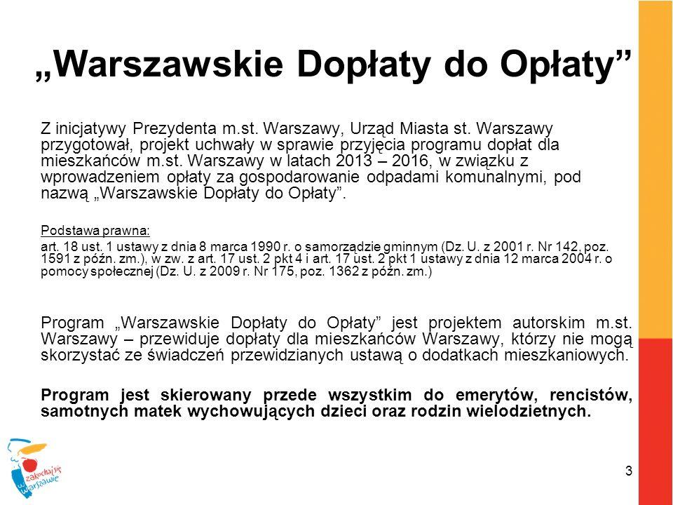 3 Warszawskie Dopłaty do Opłaty Z inicjatywy Prezydenta m.st. Warszawy, Urząd Miasta st. Warszawy przygotował, projekt uchwały w sprawie przyjęcia pro
