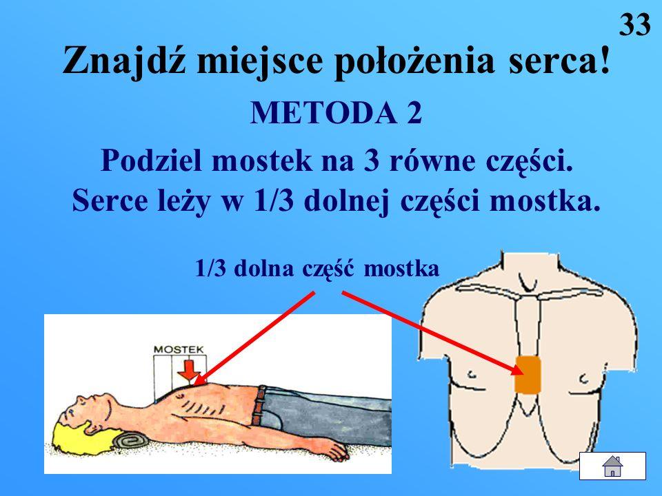 Znajdź miejsce położenia serca! METODA 1 Połóż 2 palce na wyrostku mieczykowatym mostka (złączenie dwóch dolnych żeber). Serce leży tuż nad palcami. 3