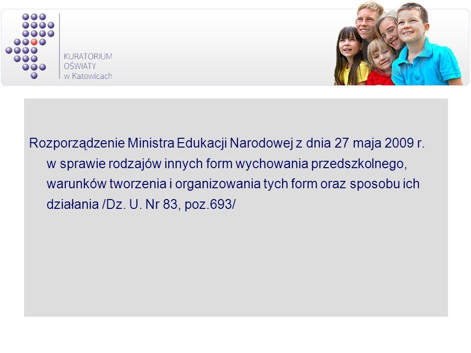 Rozporządzenie Ministra Edukacji Narodowej z dnia 27 maja 2009 r. w sprawie rodzajów innych form wychowania przedszkolnego, warunków tworzenia i organ