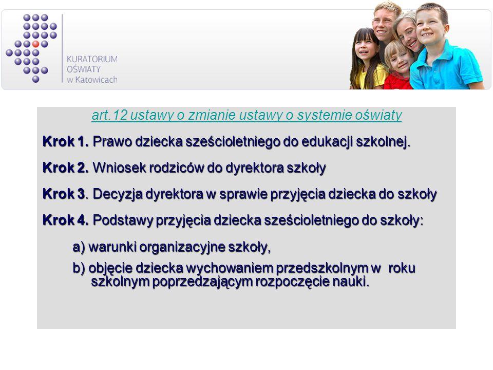 art.12 ustawy o zmianie ustawy o systemie oświaty Krok 1. Prawo dziecka sześcioletniego do edukacji szkolnej. Krok 2. Wniosek rodziców do dyrektora sz