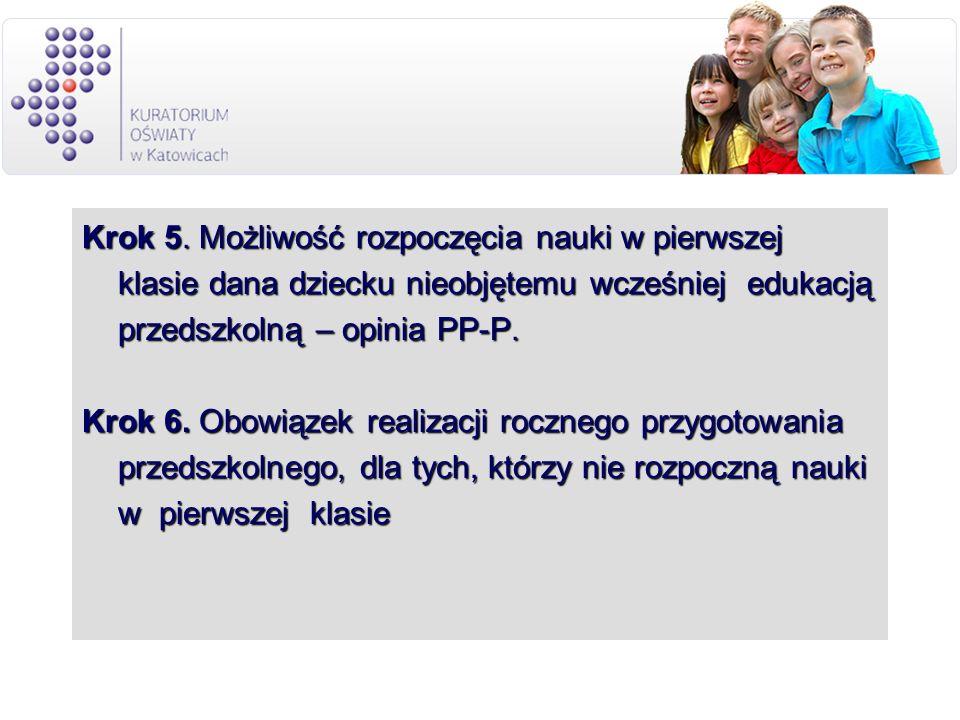 Krok 5. Możliwość rozpoczęcia nauki w pierwszej klasie dana dziecku nieobjętemu wcześniej edukacją przedszkolną – opinia PP-P. Krok 6. Obowiązek reali