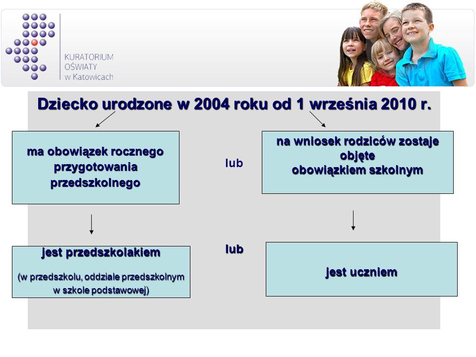Dziecko urodzone w 2004 roku od 1 września 2010 r. lublub ma obowiązek rocznego przygotowaniaprzedszkolnego na wniosek rodziców zostaje objęte obowiąz