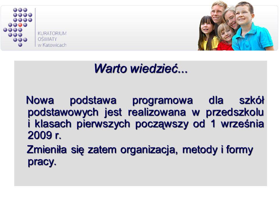 Warto wiedzieć... Nowa podstawa programowa dla szkół podstawowych jest realizowana w przedszkolu i klasach pierwszych począwszy od 1 września 2009 r.