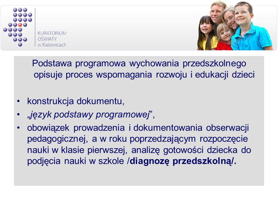 Podstawa programowa wychowania przedszkolnego opisuje proces wspomagania rozwoju i edukacji dzieci konstrukcja dokumentu, język podstawy programowej,