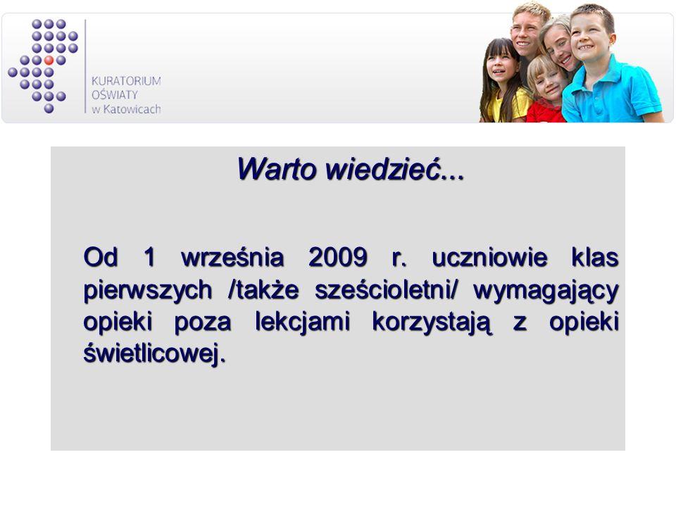 Warto wiedzieć... Warto wiedzieć... Od 1 września 2009 r. uczniowie klas pierwszych /także sześcioletni/ wymagający opieki poza lekcjami korzystają z