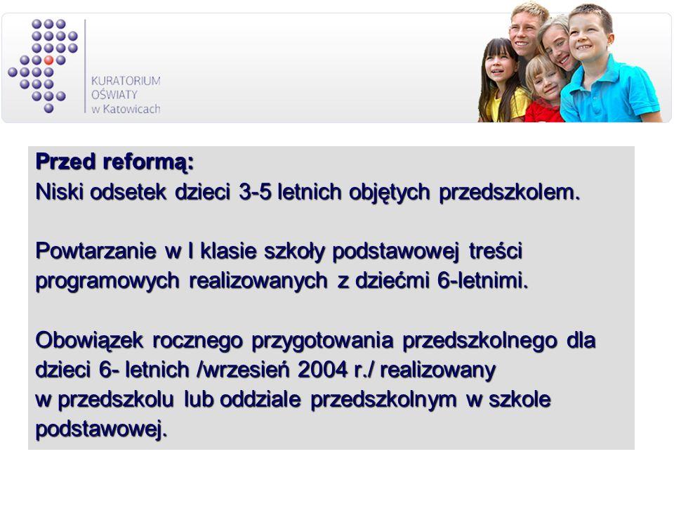 Przed reformą: Niski odsetek dzieci 3-5 letnich objętych przedszkolem. Powtarzanie w I klasie szkoły podstawowej treści programowych realizowanych z d