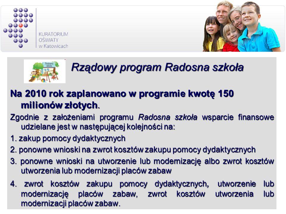 Rządowy program Radosna szkoła Rządowy program Radosna szkoła Na 2010 rok zaplanowano w programie kwotę 150 milionów złotych. Zgodnie z założeniami pr