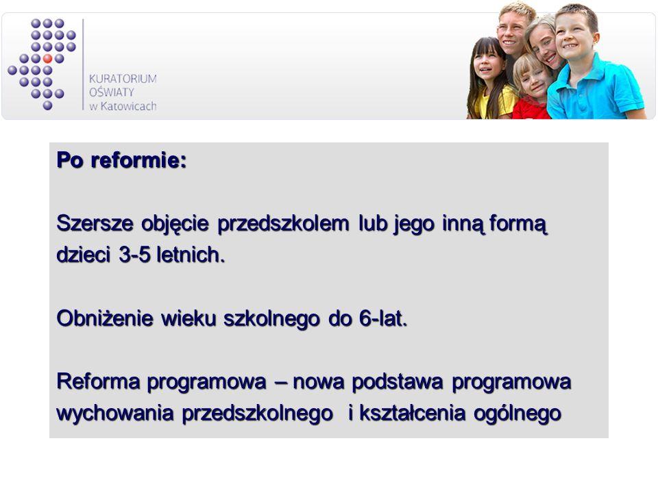 Po reformie: Szersze objęcie przedszkolem lub jego inną formą dzieci 3-5 letnich. Obniżenie wieku szkolnego do 6-lat. Reforma programowa – nowa podsta