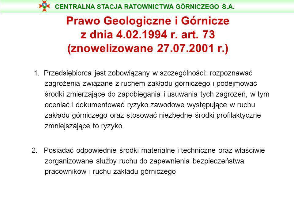 ZAGROŻENIE WYBUCHEM PYŁU WĘGLOWEGO CENTRALNA STACJA RATOWNICTWA GÓRNICZEGO S.A. 41-902 Bytom, ul. Chorzowska 25, tel.: 032 282 25 25 www.csrg.bytom.pl